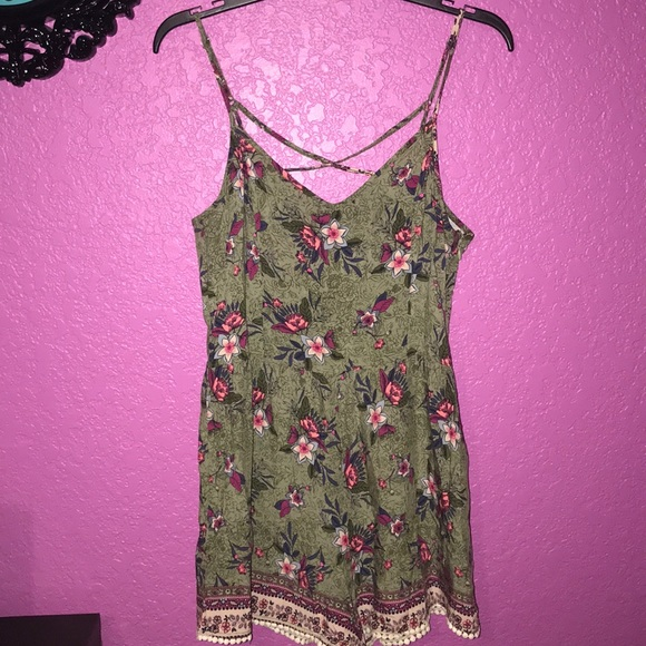 Hollister Pants - Army green floral print romper.